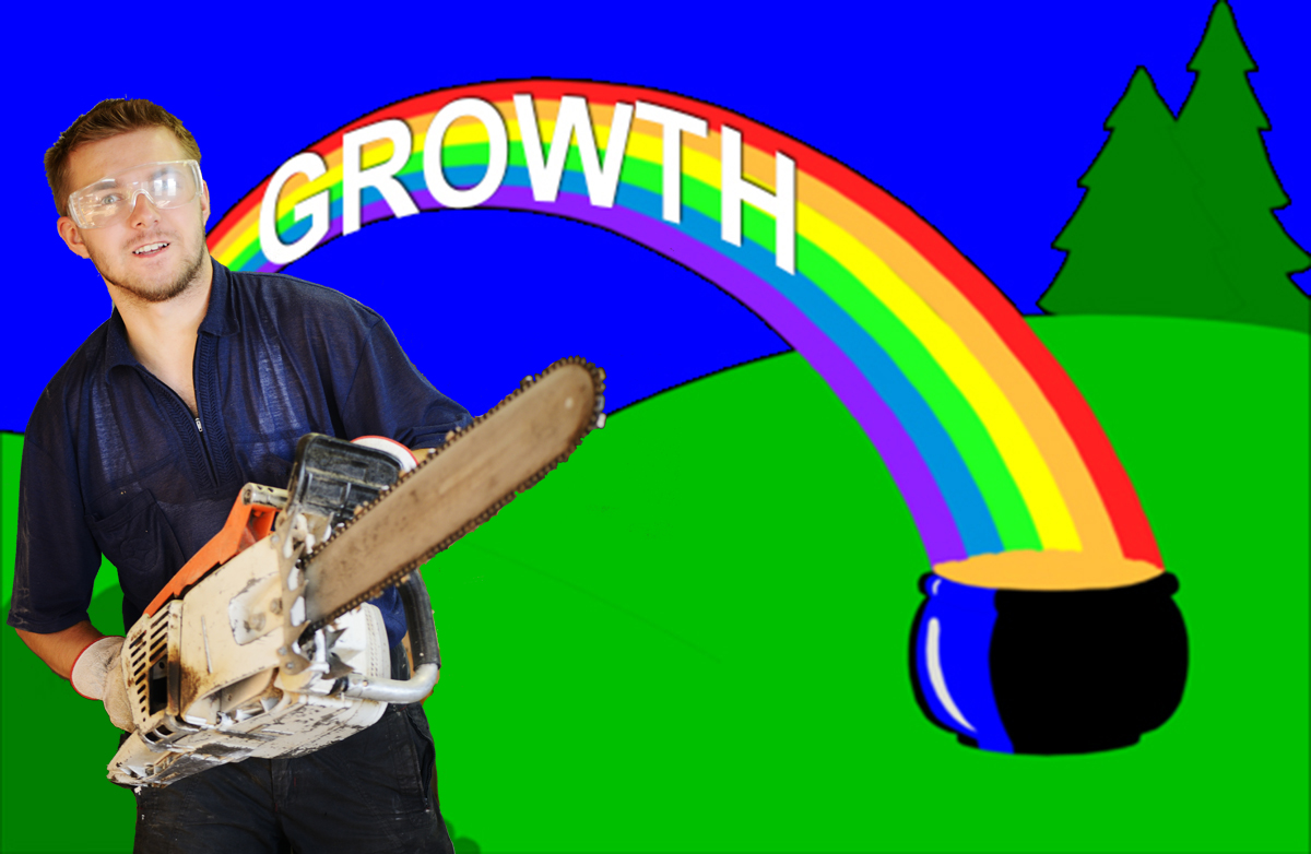Growth rainbow and chainsaw