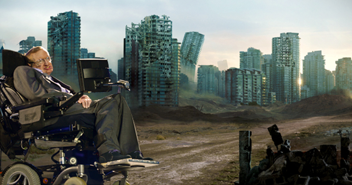 A desolate cityscape with buildings in ruins and sand pouring through the city streets.
