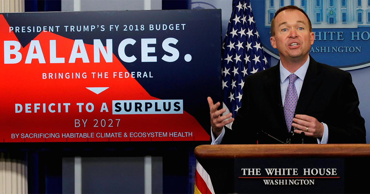 White House budget director and balanced budget graphic