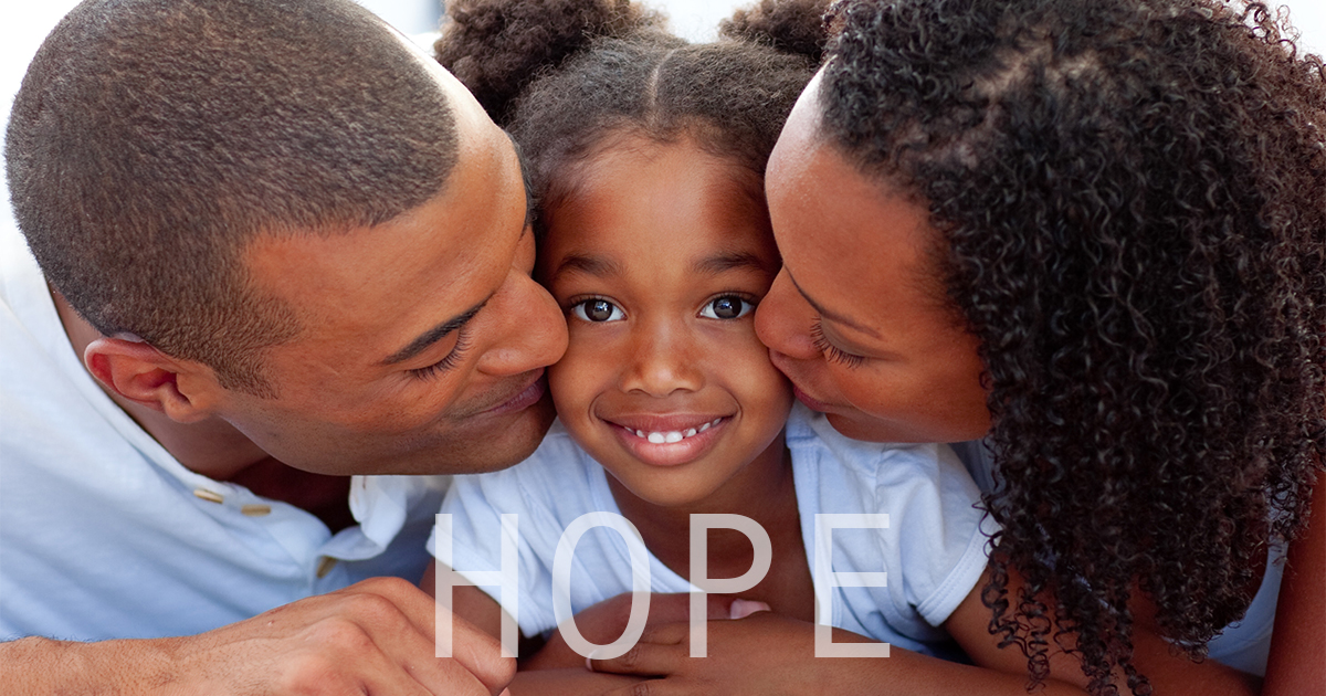 "Parents with one child and the word ""hope."""